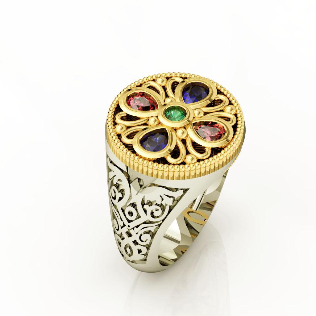 Κοσμήματα με Παραστάσεις και Σύμβολα, Κοσμήματα με θέμα τον Ρόδακα, Δαχτυλίδι Σεβαλιέ με Ρόδακα