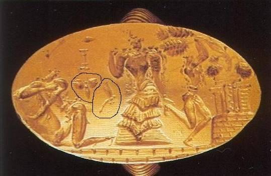 σφραγιδικό, τελετουργικό, δαχτυλίδι, με λιβελούλες να αιωρούνται δίπλα στη θεά