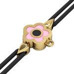 Βραχιόλι δεμένο μακραμέ με μάτι σε σχήμα μαργαρίτας / Ασημένιο, χειροποίητο, επιχρυσωμένο με ροζ σμάλτο