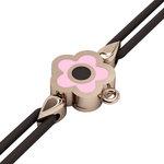 Βραχιόλι δεμένο μακραμέ με μάτι σε σχήμα μαργαρίτας / Ασημένιο, χειροποίητο, ροζ επιχρυσωμένο με ροζ σμάλτο