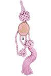 διακοσμητικό γούρι σπιτιού ''Παναγία'' από ορείχαλκο με ροζ σμάλτο & κορδόνι