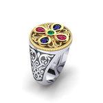 Αρχαϊκό Δαχτυλίδι Σεβαλιέ 18 / Ασημένιο, χειροποίητο, δίχρωμο, λευκό κίτρινο, με ανθέμιο ροζέτα και χρωματιστές συνθετικές πέτρες