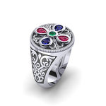 Αρχαϊκό Δαχτυλίδι Σεβαλιέ 18 / Ασημένιο, χειροποίητο, δίχρωμο, λευκό μαύρο, με ανθέμιο ροζέτα και χρωματιστές συνθετικές πέτρες