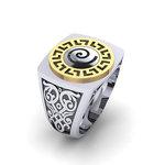 Δαχτυλίδι σεβαλιέ 6 / Ασημένιο, χειροποίητο, δίχρωμο, λευκό κίτρινο, με Μαίανδρο και ένθετη Σπείρα