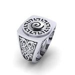 Δαχτυλίδι σεβαλιέ 6 / Ασημένιο, χειροποίητο, δίχρωμο, λευκό μαύρο, με Μαίανδρο και ένθετη Σπείρα