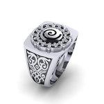 Αρχαϊκό Δαχτυλίδι Σεβαλιέ 3 / Ασημένιο, χειροποίητο, δίχρωμο, λευκό μαύρο με πατίνα και  ένθετη σπείρα