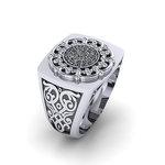 Αρχαϊκό Δαχτυλίδι Σεβαλιέ 1 / Ασημένιο, χειροποίητο, δίχρωμο, λευκό μαύρο, με ένθετο το δίσκο τής Φαιστού