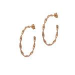 Σκουλαρίκια Κρίκοι Κοτσίδα μεγάλοι 3 Αρχαϊκής Τεχνοτροπίας σε μοντέρνο σχεδιασμό / Ασημένια, χειροποίητα, ροζ επιχρυσωμένα