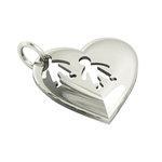 Μενταγιόν Καρδιά δύο Αγοράκια / Ασημένιο, χειροποίητο, επιπλατινωμένο