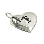 Μενταγιόν Καρδιά Αγοράκι Κοριτσάκι / Ασημένιο, χειροποίητο, επιπλατινωμένο