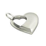 Μενταγιόν Καρδιά με εσωτερική Καρδούλα / Ασημένιο, χειροποίητο, λευκό επιπλατινωμένο