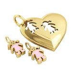 Μενταγιόν Καρδιά με δύο Κοριτσάκια / Ασημένιο, χειροποίητο,  επιχρυσωμένο με ροζ σμάλτο