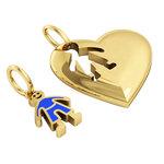 Μενταγιόν καρδιά με Αγοράκι / Ασημένιο, χειροποίητο,  επιχρυσωμένο με μπλε σμάλτο