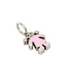 Μενταγιόν Κοριτσάκι μεσαίο/ Ασημένιο, χειροποίητο, επιπλατινωμένο με ροζ σμάλτο