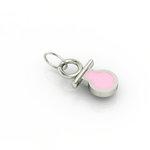 Μενταγιόν Παιδική Πιπίλα / Ασημένιο  επιπλατινωμένο με ροζ σμάλτο