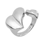 Μοντέρνο Σεβαλιέ Δαχτυλίδι 40 με δύο καρδιές / Ασημένιο, χειροποίητο, επιπλατινωμένο