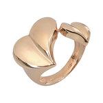 Μοντέρνο Σεβαλιέ Δαχτυλίδι 40 με δύο καρδιές / Ασημένιο, χειροποίητο, ροζ επιχρυσωμένο