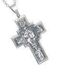 Ορθόδοξος Ρώσικος Σταυρός Ευλογίας 2412 με τον Ιησού Χριστό Εσταυρωμένο / Ασημένιος, χειροποίητος, διπλής όψεως με αλυσίδα / πίσω όψη