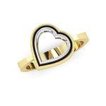 Δαχτυλίδι Δίδυμες καρδιές 2 / Ασημένιο, χειροποίητο, δίχρωμο, κίτρινο - λευκό