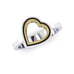 Δαχτυλίδι Δίδυμες Καρδιές 2 / Ασημένιο, χειροποίητο, δίχρωμο, λευκό - κίτρινο