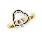 Δαχτυλίδι Δίδυμες καρδιές 2 / Ασημένιο, χειροποίητο, δίχρωμο, κίτρινο - λευκό με ένα ζιργκόν