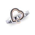 Δαχτυλίδι Δίδυμες Καρδιές 6 / Ασημένιο, χειροποίητο, δίχρωμο, λευκό - ροζ