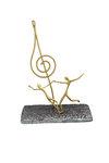 διακοσμητικό δώρο γραφείου- απιτιού, από ανακυκλωμένο αλουμίνιο και ορείχαλκο, κλειδί τού σολ με χορευτές / 2ΚΘ0008