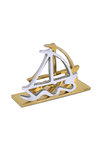 διακοσμητικό δώρο γραφείου, καρτοθήκη - καρτελοθήκη, από ανακυκλωμένο αλουμίνιο και ορείχαλκο, δίδυμες βάρκες / 2ΚΘ0011