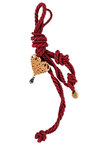 διακοσμητικό δώρο για το σπίτι,  καρδια, κατασκευασμένη από ορείχαλκο, δεμένη με κόκκινο κορδόνι με κόμπους / 2ΔΙ0258