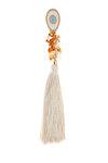 διακοσμητικό δώρο για το σπίτι και το γραφείο, μάτι με εκρού, λευκό και τυρκουάζ σμάλτο, δεμένο με εκρού φούντα και κρύσταλλα, από ορείχαλκο / 2ΔΙ0283