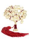 διακοσμητικό δώρο για το σπίτι και το γραφείο, μεγάλη ροδιά με κόκκινα ματάκια, κατασκευασμένη από ορείχαλκο με κόκκινο κορδόνι και φούντα / 2ΔΙ0335