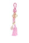 διακοσμητικό δώρο για το σπίτι και παιδικό δωμάτιο, σταυρός και μάτι με ροζ, λευκό και τυρκουάζ σμάλτο, δεμένα με ροζ κορδόνι, από ορείχαλκο / 2ΔΙ0587