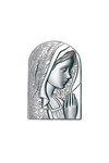 θρησκευτική καθολική εικόνα πίστης Παναγία με πέπλο, ανάγλυφη, σε ασήμι 925' /2ΕΙ0243 / 50 x 90 mm