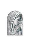 θρησκευτική καθολική εικόνα πίστης Παναγία με πέπλο, ανάγλυφη, σε ασήμι 925' / 2ΕΙ0246 / 70 x 110 mm