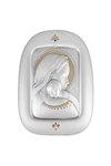 θρησκευτική καθολική εικόνα πίστς Παναγία Βρεφοκρατούσα, ανάγλυφη σε ασήμι 925' με επίχρυσα στοιχεία και σμάλτο / 2ΕΙ0129 / 290 x 380 mm