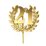Επετειακή Καρφίτσα Γούρι 21 Δαφνοστεφανωμένο για τα 200 χρόνια από την Ελληνική Επανάσταση / Ασημένια, χειροποίητη, κίτρινη επιχρυσωμένη - 01