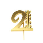 Επετειακή Καρφίτσα Γούρι 21 με Κλαδί Δάφνης για τα 200 χρόνια από την Ελληνική Επανάσταση / Ασημένια, χειροποίητη, κίτρινη επιχρυσωμένη - 02