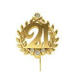 Επετειακή Καρφίτσα Γούρι 21 για τα 200 χρόνια από την Ελληνική Επανάσταση / Ασημένια, χειροποίητη, κίτρινη επιχρυσωμένη