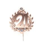 Επετειακή Καρφίτσα Γούρι 21 Δαφνοστεφανωμένο για τα 200 χρόνια από την Ελληνική Επανάσταση / Ασημένια, χειροποίητη, ροζ επιχρυσωμένη