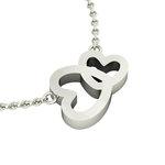 Κολιέ Διπλή Καρδιά 1 / Ασημένιο, χειροποίητο, λευκό επιπλατινωμένο