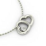 Κολιέ Διπλή Καρδιά 2 / Ασημένιο, χειροποίητο, λευκό επιπλατινωμένο με ένα ζιργκόν