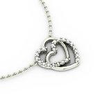 Κολιέ Διπλή Καρδιά 3 / Ασημένιο, χειροποίητο, λευκό επιπλατινωμένο με ζιργκόν