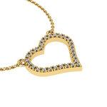 Κολιέ Διπλή Καρδιά 4 / Ασημένιο, χειροποίητο, κίτρινο επιχρυσωμένο με ζιργκόν