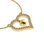 Κολιέ Καρδιά με εσωτερικό μενταγιόν καρδούλα / Ασημένιο, χειροποίητο, κίτρινο  επιχρυσωμένο με ζιργκόν