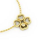 Κολιέ 4 Καρδιές Τετράφυλλο 2 / Ασημένιο, χειροποίητο, κίτρινο επιχρυσωμένο με ζιργκόν