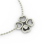 Κολιέ 4 Καρδιές Τετράφυλλο 2 / Ασημένιο, χειροποίητο, λευκό επιπλατινωμένο με ζιργκόν