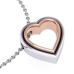 Μενταγιόν Δίδυμες Καρδιές 1 / Ασημένιο, χειροποίητο / λευκό - ροζ
