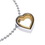 Μενταγιόν Δίδυμες καρδιές 2 / Ασημένιο, χειροποίητο / λευκό - κίτρινο