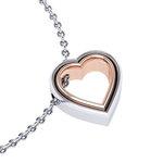 Μενταγιόν Δίδυμες καρδιές 2 / Ασημένιο, χειροποίητο / λευκό - ροζ
