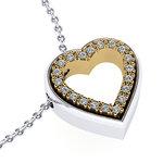 Μενταγιόν Δίδυμες Καρδιές 3 / Ασημένιο, χειροποίητο / λευκό - κίτρινο με συνθετικές πέτρες